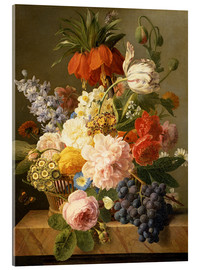 Acrylic print  Still Life with Flowers and Fruit - Jan Frans van Dael