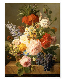 Premium poster  Still Life with Flowers and Fruit - Jan Frans van Dael