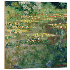 Wood print  The waterlily pond - Claude Monet