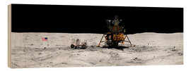 Wood print  Apollo 16 lands in the lunar highlands