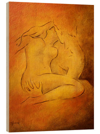 Wood print  Flaming passion, couple in love - Marita Zacharias