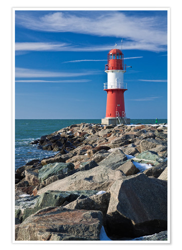 Premium poster Lighthouse on the Baltic Sea coast in Warnemuende (Germany)