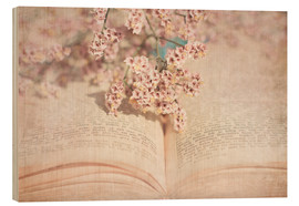 Wood print  The old book - INA FineArt
