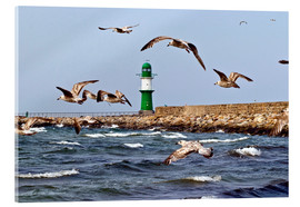 Acrylic print  Mole with green lighthouse in the Baltic Sea Warnemünde - CAPTAIN SILVA