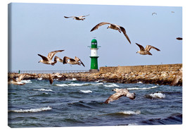 Canvas print  Mole with green lighthouse in the Baltic Sea Warnemünde - CAPTAIN SILVA