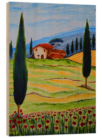 Wood print  Flowering Poppies of Tuscany 4 - Christine Huwer