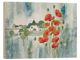 Wood print  Poppy flower - Franz Heigl