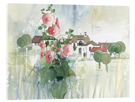 Acrylic print  Rural Impression with hollyhocks - Franz Heigl