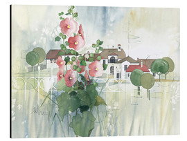 Aluminium print  Rural Impression with hollyhocks - Franz Heigl