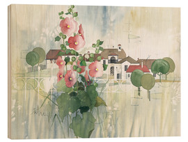 Wood print  Rural Impression with hollyhocks - Franz Heigl