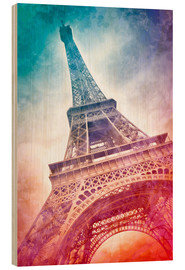 Wood print  Modern Art EIFFEL TOWER 21 - Melanie Viola