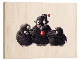 Wood print  Three Ravens, One Clown - Stefan Kahlhammer