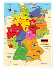 Premium poster  German states for children (German) - Fluffy Feelings