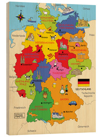 Wood print  German states for children (German) - Fluffy Feelings