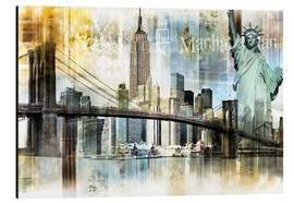 Aluminium print  New York Skyline I - Städtecollagen