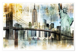 Premium poster  New York Skyline I - Städtecollagen