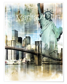 Premium poster Skyline Manhattan, New York Fraktal