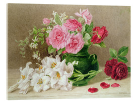 Acrylic print  Roses and lilies - Mary Elizabeth Duffield