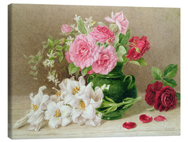 Canvas  Roses and Lilies - Mary Elizabeth Duffield