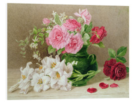 Foam board print  Roses and lilies - Mary Elizabeth Duffield