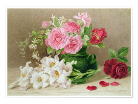 Premium poster  Roses and lilies - Mary Elizabeth Duffield