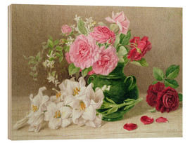 Wood print  Roses and lilies - Mary Elizabeth Duffield