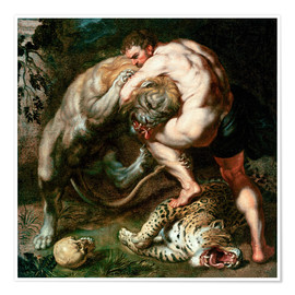 Premium poster  Hercules Fighting the Nemean Lion - Peter Paul Rubens