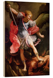 Wood print  The archangel Michael defeating Satan - Guido Reni