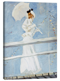 Canvas print  Young woman with umbrella at the pier - Paul Cesar Francois Helleu