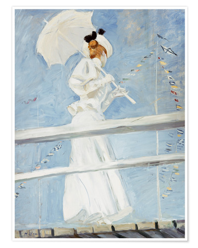 Premium poster Young woman with umbrella at the pier