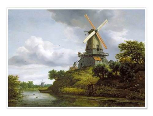 Premium poster Windmill on a river