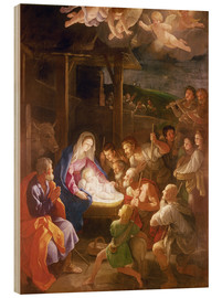 Wood print  The Nativity at Night - Guido Reni
