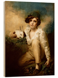 Wood print  Boy and Rabbit - Henry Raeburn