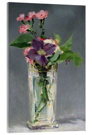 Acrylic print  Pinks and Clematis in a Crystal Vase - Edouard Manet