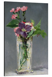 Aluminium print  Pinks and Clematis in a Crystal Vase - Edouard Manet
