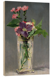 Wood print  Pinks and Clematis in a Crystal Vase - Edouard Manet