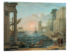 Foam board print  Seaport with the Embarkation of the Queen of Sheba - Claude Lorrain