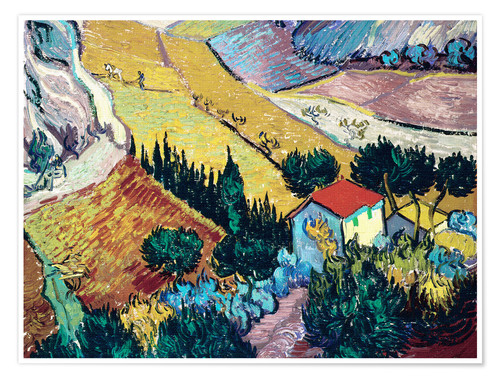 Premium poster Landscape with House and Ploughman