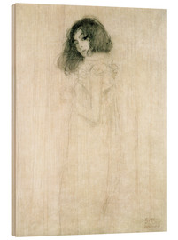 Wood print  Portrait of a young woman - Gustav Klimt