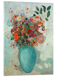 Acrylic print  Flowers in a Turquoise Vase - Odilon Redon