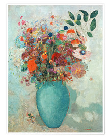 Premium poster  Flowers in a Turquoise Vase - Odilon Redon