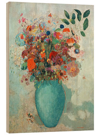 Wood print  Flowers in a Turquoise Vase - Odilon Redon