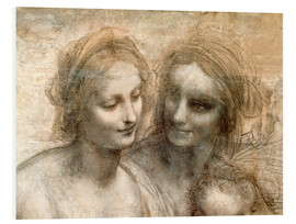 Foam board print  Detail of the Heads of the Virgin and St. Anne - Leonardo da Vinci