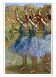 Premium poster  Three dancers in blue - Edgar Degas