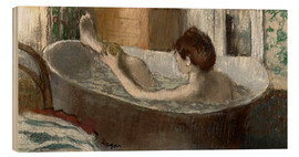 Wood print  Woman washing her leg - Edgar Degas