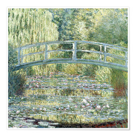 Premium poster  Water lily pond in green - Claude Monet