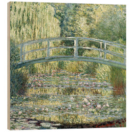 Wood print  Water lily pond in green - Claude Monet