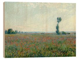 Wood print  Field with poppies - Claude Monet