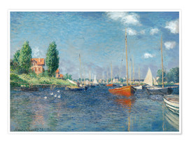 Premium poster Red boats at Argenteuil