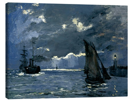Canvas print  Ships in Moonshine - Claude Monet